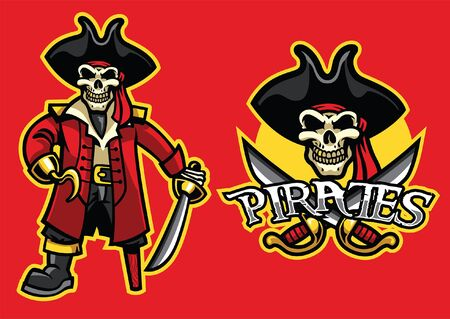 set of pirate skull mascot Ilustrace