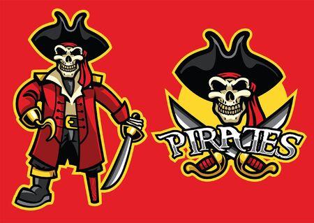 set of pirate skull mascot Illustration