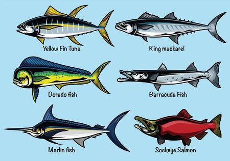 ensemble de collection de poissons de l'océan