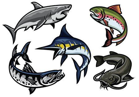 set of fish graphic