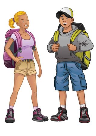 couple male and female of adventure people Illustration