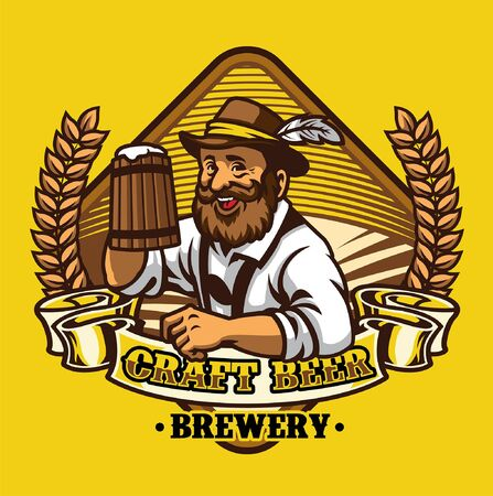 beer brewery badge design with old man hold the beer mug