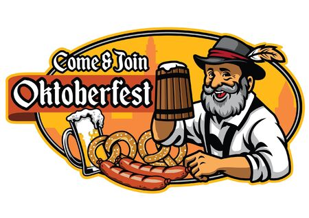 design of oktoberfest with old man hold the beers mug