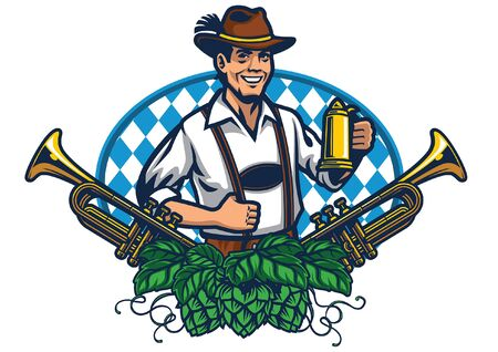 oktoberfest badge design with man and beers