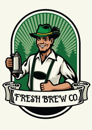 design of brewery beer with german man wearing traditional clothes Illustration