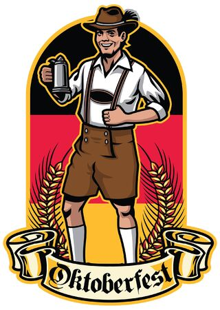 german man celebrating oktoberfest inside the design Illustration