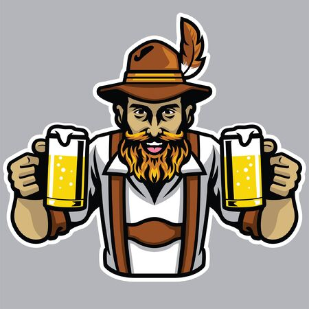 german man hold the beers in both of hands