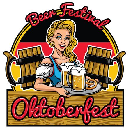 oktoberfest design with lady presenting the beers