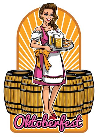 oktoberfest design with lady wearing drindl  イラスト・ベクター素材