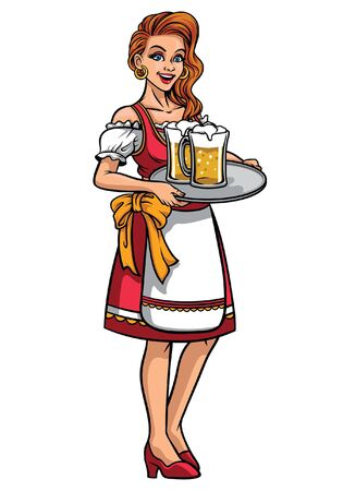 beautiful women celebrating oktoberfest wearing drindl dress Иллюстрация