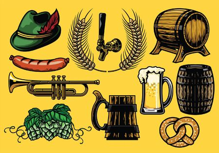 set of beer concept objects Illustration