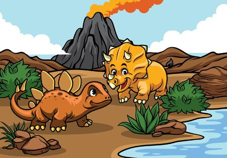 triceratops and stegosaurs dinosaurs at the nature