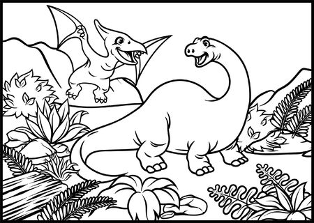 coloring page of brontosaurs and pterodactyl at the nature Ilustração