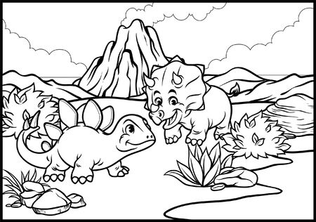 coloring page of triceratops kid and stegosaurus kid in nature Illustration