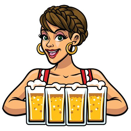 cheerful oktoberfest girl bring the beers 向量圖像