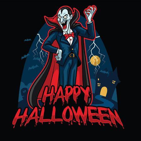 happy halloween design greeting with vampire