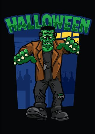 frankenstein character of halloween Illustration