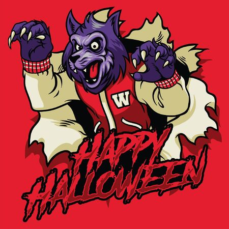 happy halloween design with werewolf coming out from broken paper Illustration