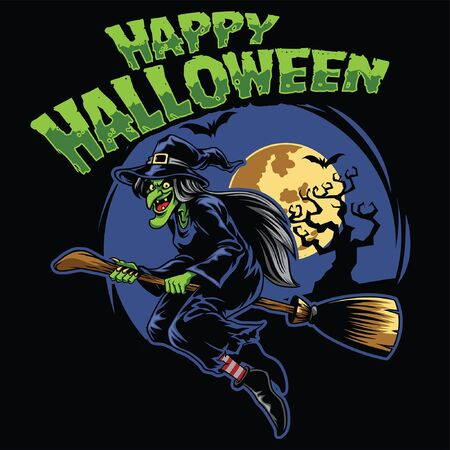 happy halloween design with witch riding the flying broom Illustration