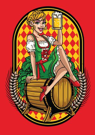 girl of oktoberfest sits on the beer barrels