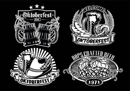 set of beer badges design Ilustração