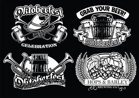 set of black and white badge of oktoberfest Ilustração