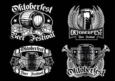 set of badge design of oktoberfest in black and white