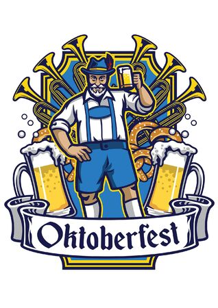 oktoberfest design with man hold the beers
