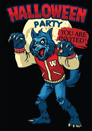 halloween party poster design with werewolf character inside