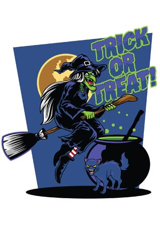 witch character with trick or treat halloween design