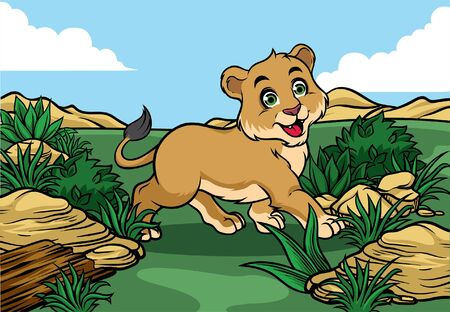 lion cub happy in the nature Ilustrace