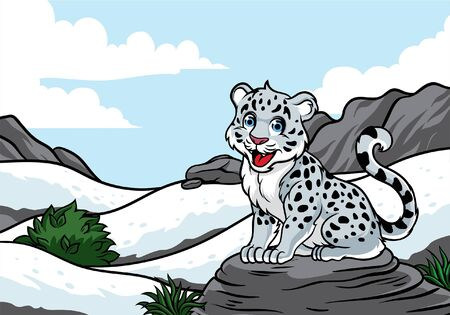 cute snow leopard at the snowy mountain