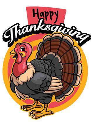 happy thanksgiving design with cartoon wild turkey