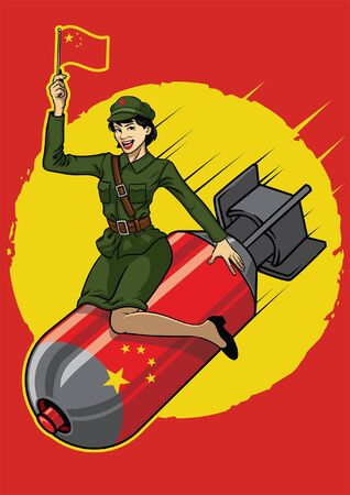 pin up china military girl sits on the nuclear bomb