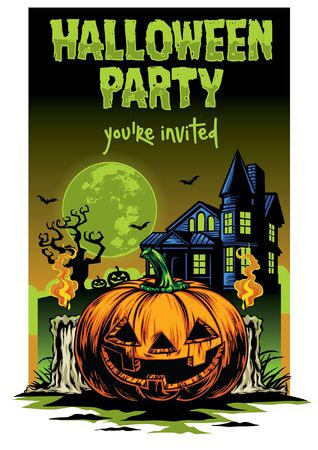 halloween party design poster with pumpkin