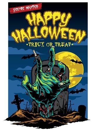 happy halloween greeting design of zombie hand 일러스트