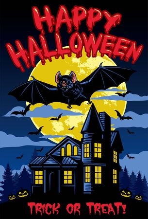 halloween greeting design with bat and haunted house 일러스트