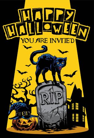 poster design of halloween with black cat standing over the tomb 일러스트