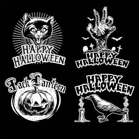 set of halloween badge design