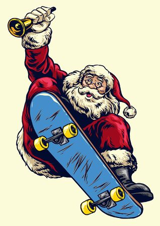santa claus riding skateboard while hold the bell
