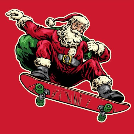 hand drawn style of vintage santa claus riding skateboard