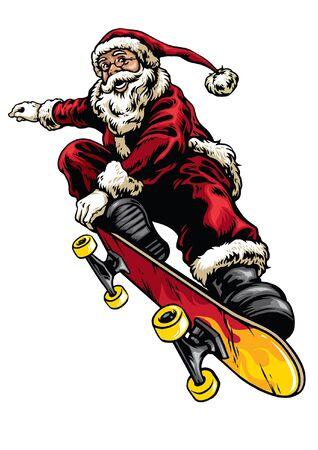 jumping stunt santa claus riding skateboard