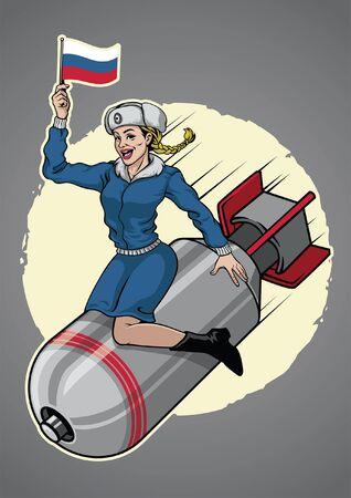 Pin up chica militar rusa se sienta en la bomba nuclear Ilustración de vector