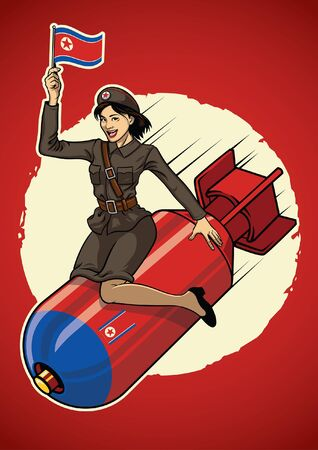 pin up north korea military girl sits on the nuclear bomb