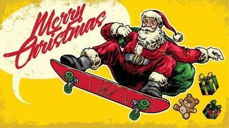 vintage christmas greeting design of santa claus riding skateboard
