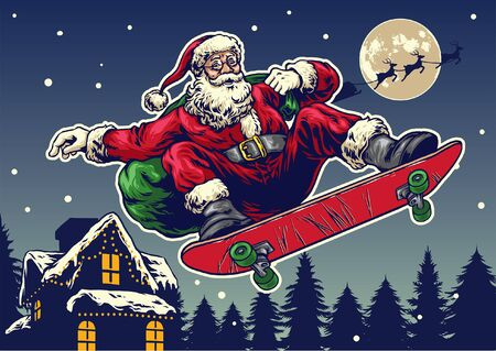 christmas design of santa claus riding skateboard in the night