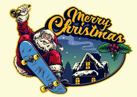 happy santa claus riding skateboard