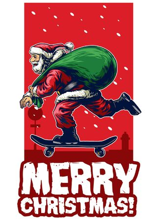 christmas greeting card design with santa claus riding skateboard