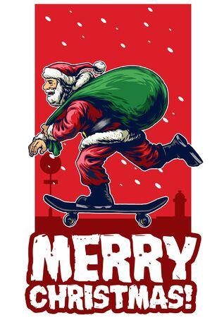 christmas greeting card design with santa claus riding skateboard