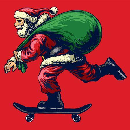 hand drawn of santa claus riding skateboard while bring the presents Illustration